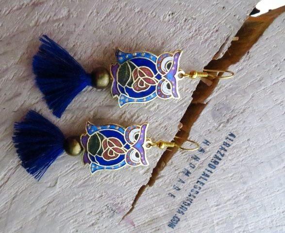 orecchini pendientes tassel buho gufo