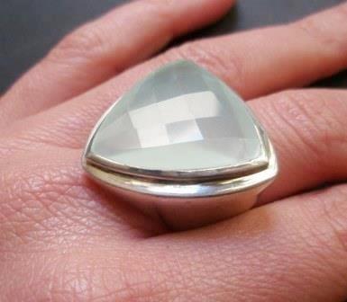 Grande Anello Serpentina Sfaccettata Silver Sterling Ring New Jade