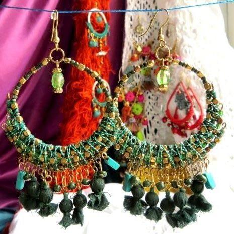 perline orecchini pendente cerchio