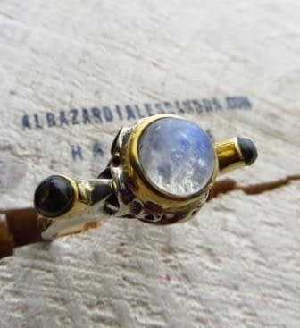 Dalí Anello Pietra di Luna Tormalina - Moonstone Tourmaline Ring