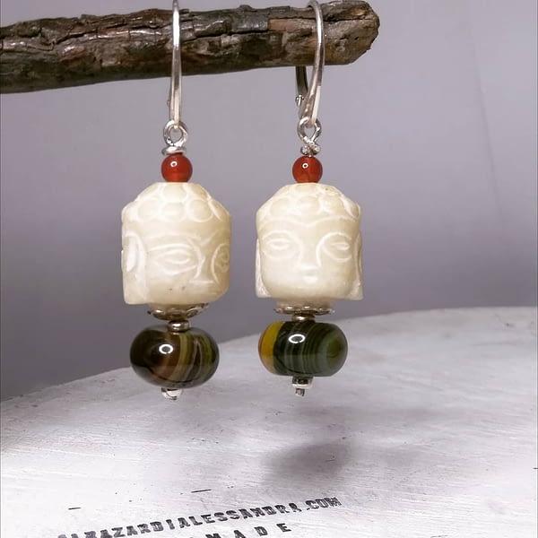 orecchini budda giadeite agata