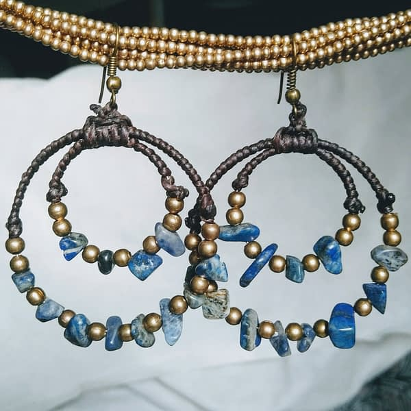 orecchini etnici lapislazzuli