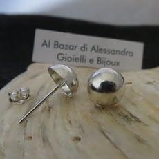 Orecchini Argento 925 Semi Sfera Pendientes Plata Ley Bolita