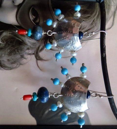 orecchini fenice turchese perle corallo lapislazzuli